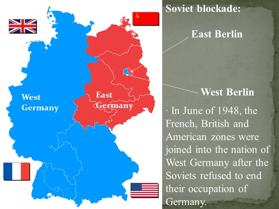 Soviet blockade: East Berlin West Berlin