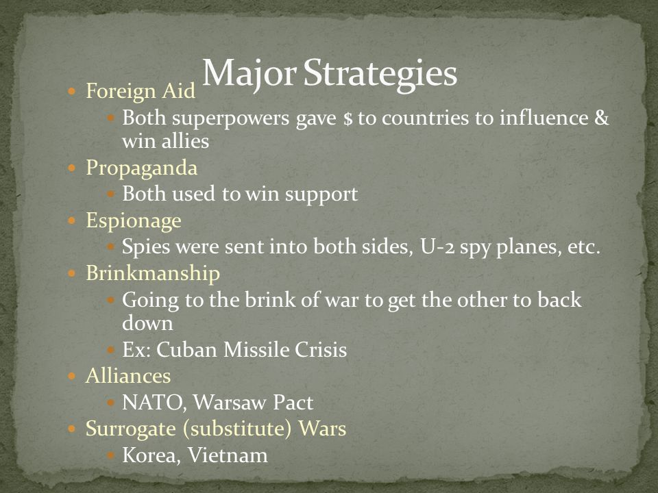 Major Strategies Foreign Aid