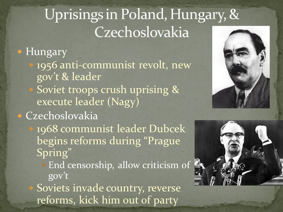Uprisings in Poland, Hungary, & Czechoslovakia