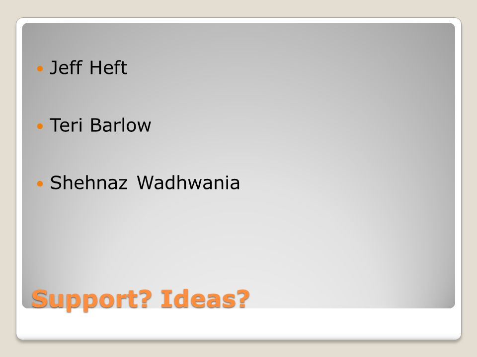 Jeff Heft Teri Barlow Shehnaz Wadhwania Support Ideas