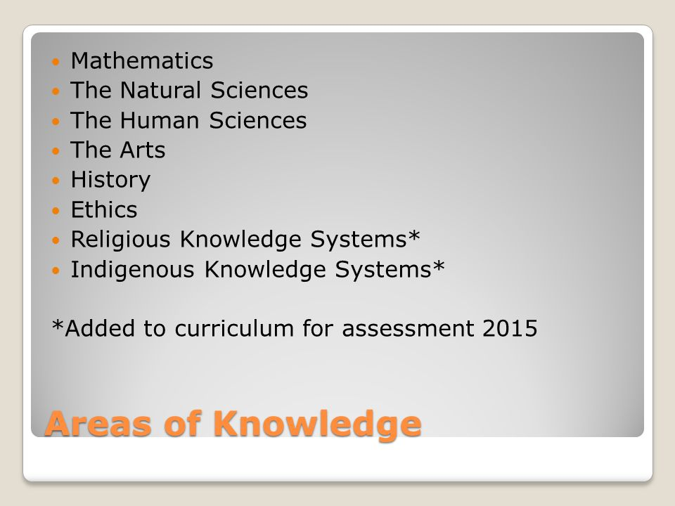Areas of Knowledge Mathematics The Natural Sciences The Human Sciences