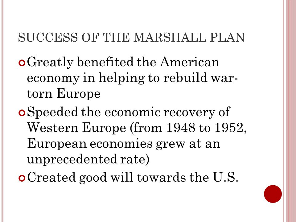 SUCCESS OF THE MARSHALL PLAN