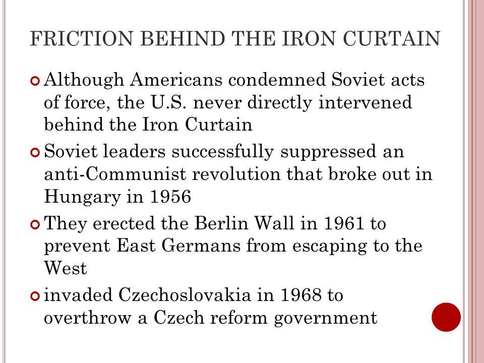 FRICTION BEHIND THE IRON CURTAIN