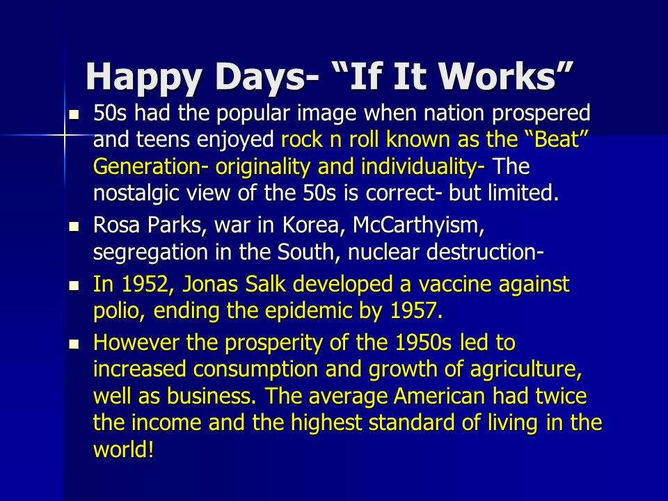 Happy Days- If It Works