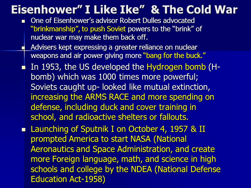Eisenhower I Like Ike & The Cold War
