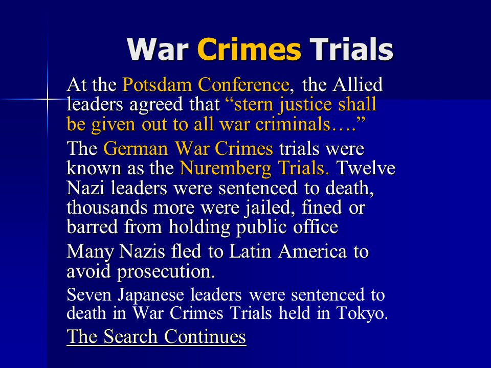 War Crimes Trials Unit 9 Notes #2.