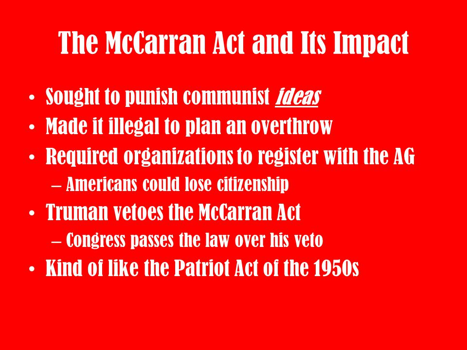 The McCarran Act and Its Impact