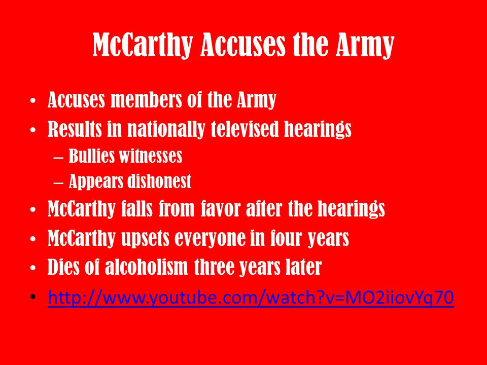 McCarthy Accuses the Army