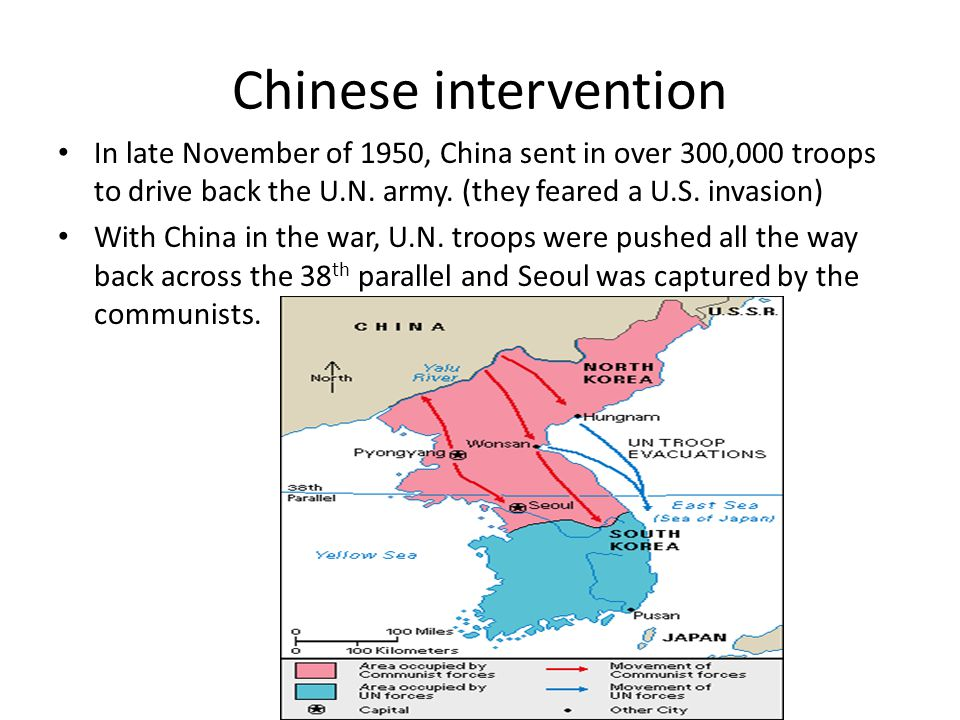 Chinese intervention In late November of 1950, China sent in over 300,000 troops to drive back the U.N. army. (they feared a U.S. invasion)