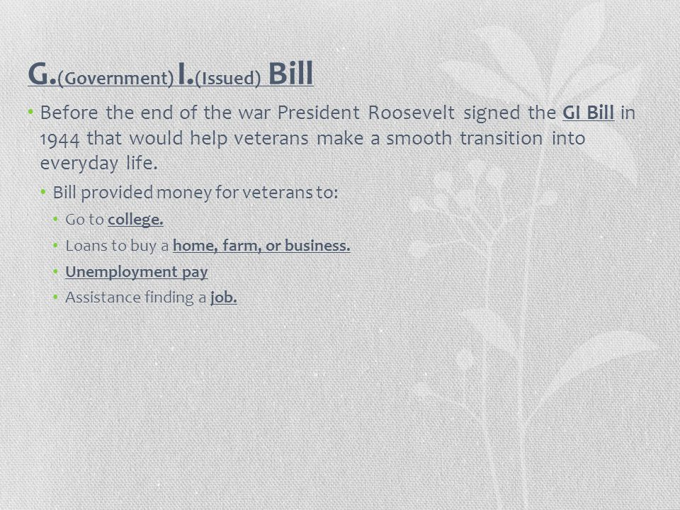 G.(Government) I.(Issued) Bill