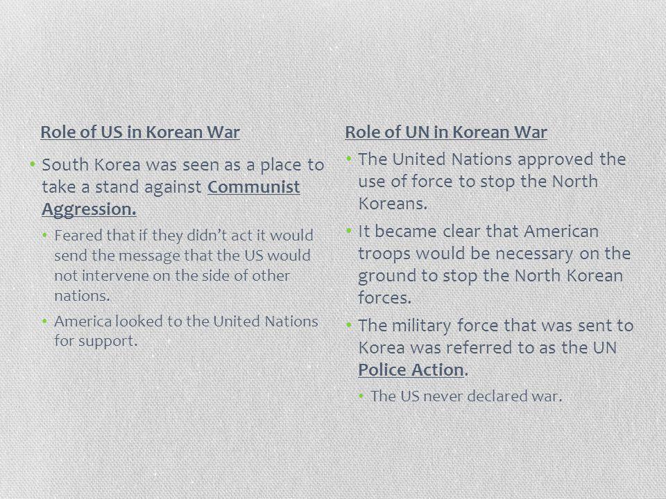Role of US in Korean War Role of UN in Korean War