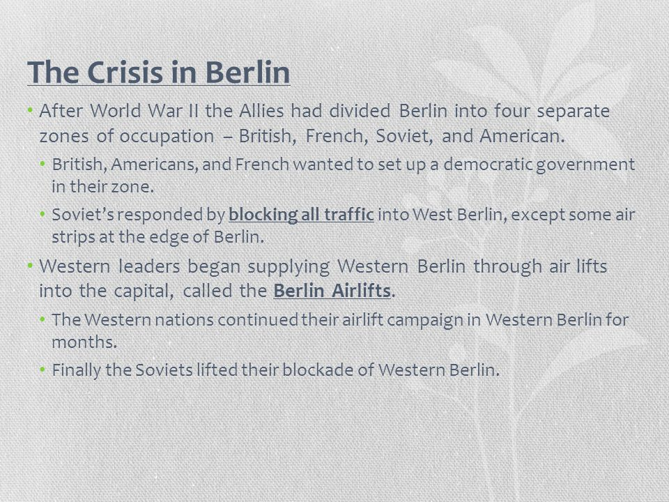 The Crisis in Berlin