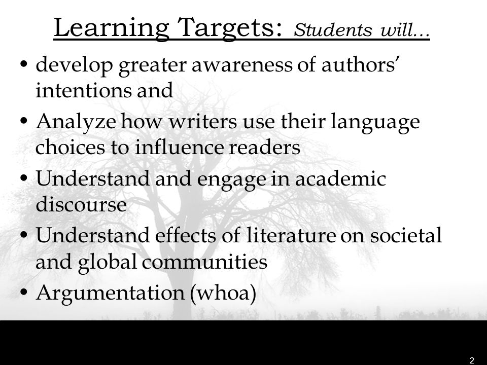 Learning Targets: Students will…
