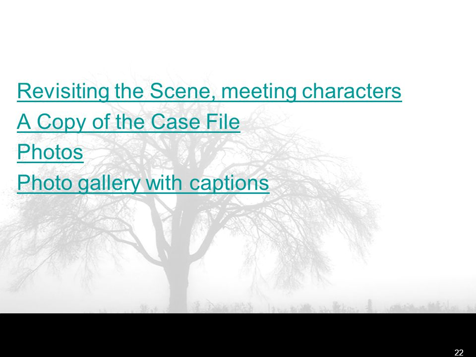 Revisiting the Scene, meeting characters A Copy of the Case File Photos Photo gallery with captions