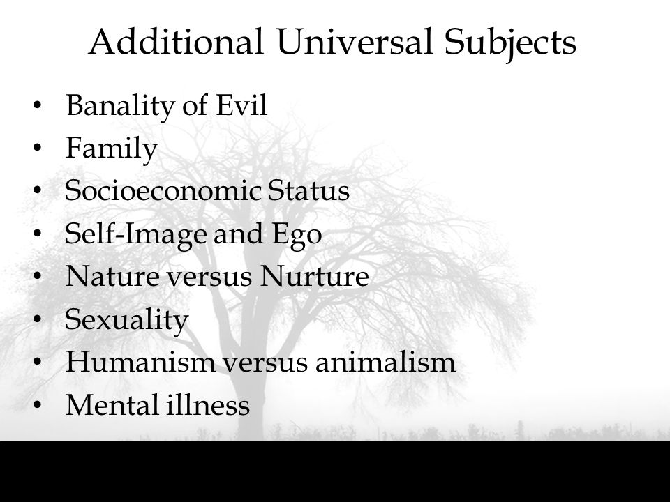 Additional Universal Subjects
