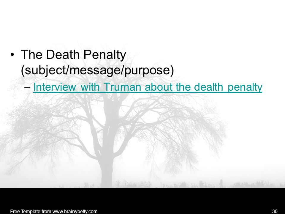 The Death Penalty (subject/message/purpose)