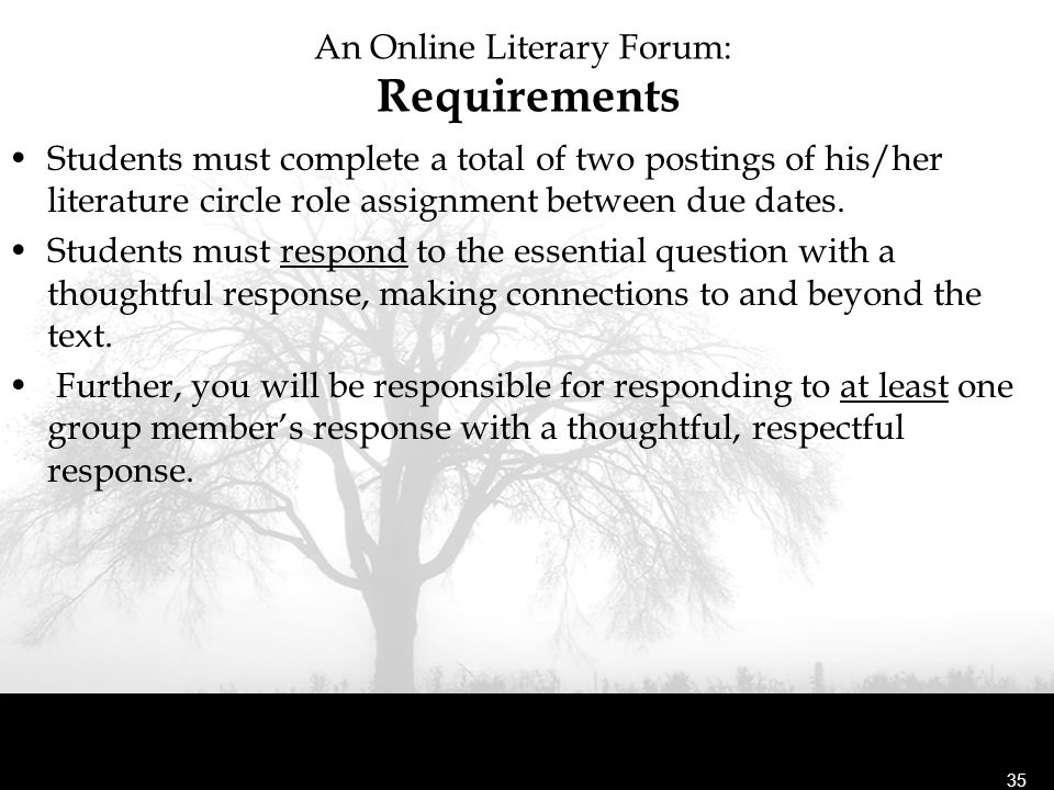 An Online Literary Forum: Requirements