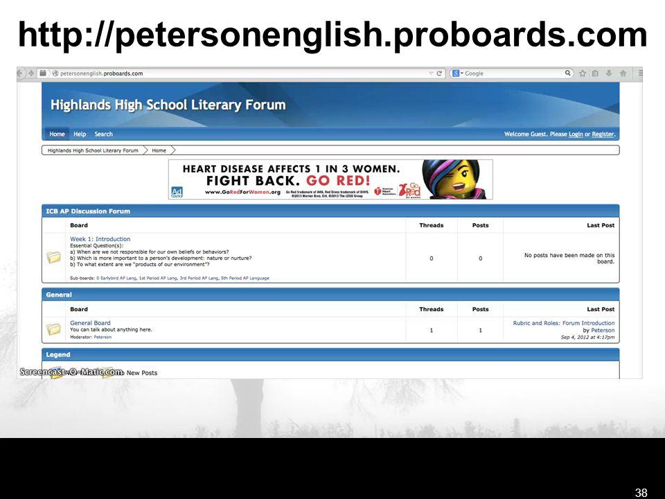 http://petersonenglish.proboards.com