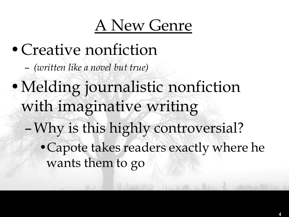 Melding journalistic nonfiction with imaginative writing