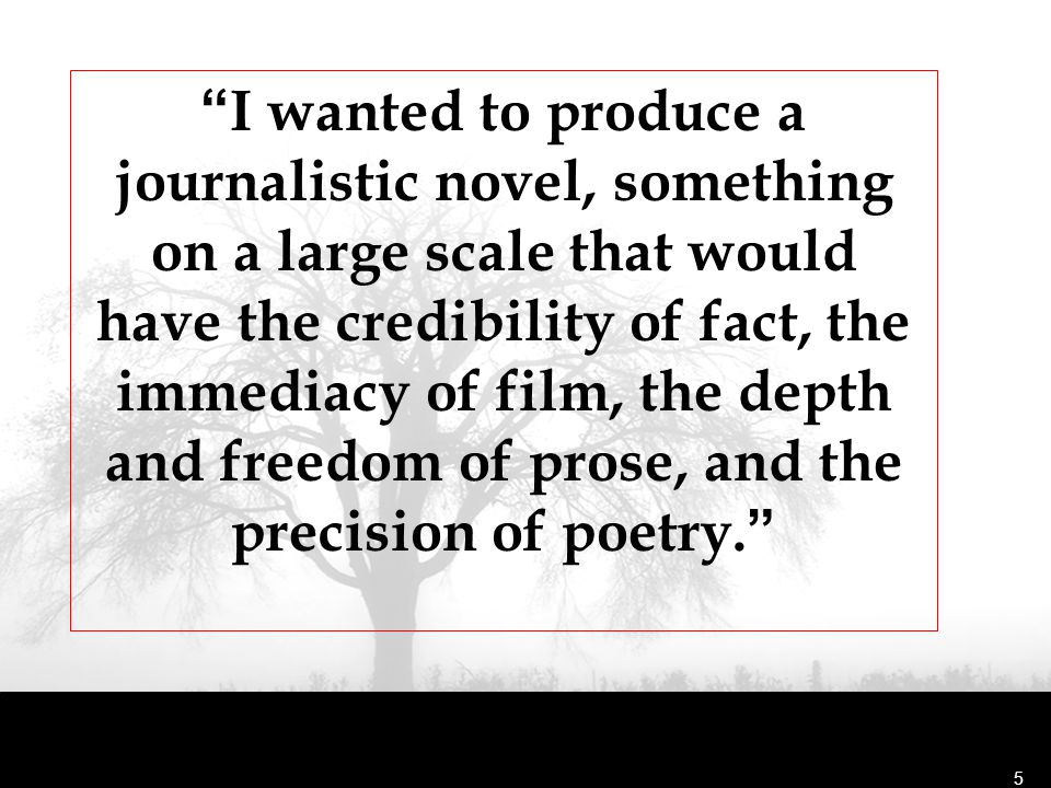 I wanted to produce a journalistic novel, something on a large scale that would have the credibility of fact, the immediacy of film, the depth and freedom of prose, and the precision of poetry.