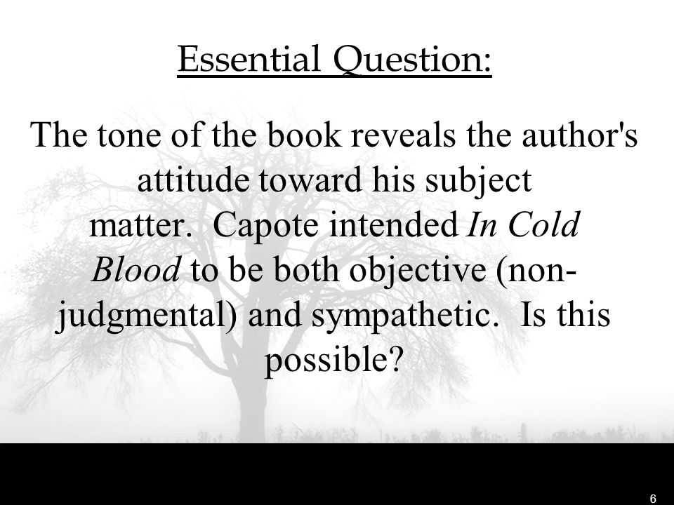 in cold blood essay prompts In cold blood the book, in cold blood and capote the movies, the storyline does not change even a bit the story revolves around investigative journalism.