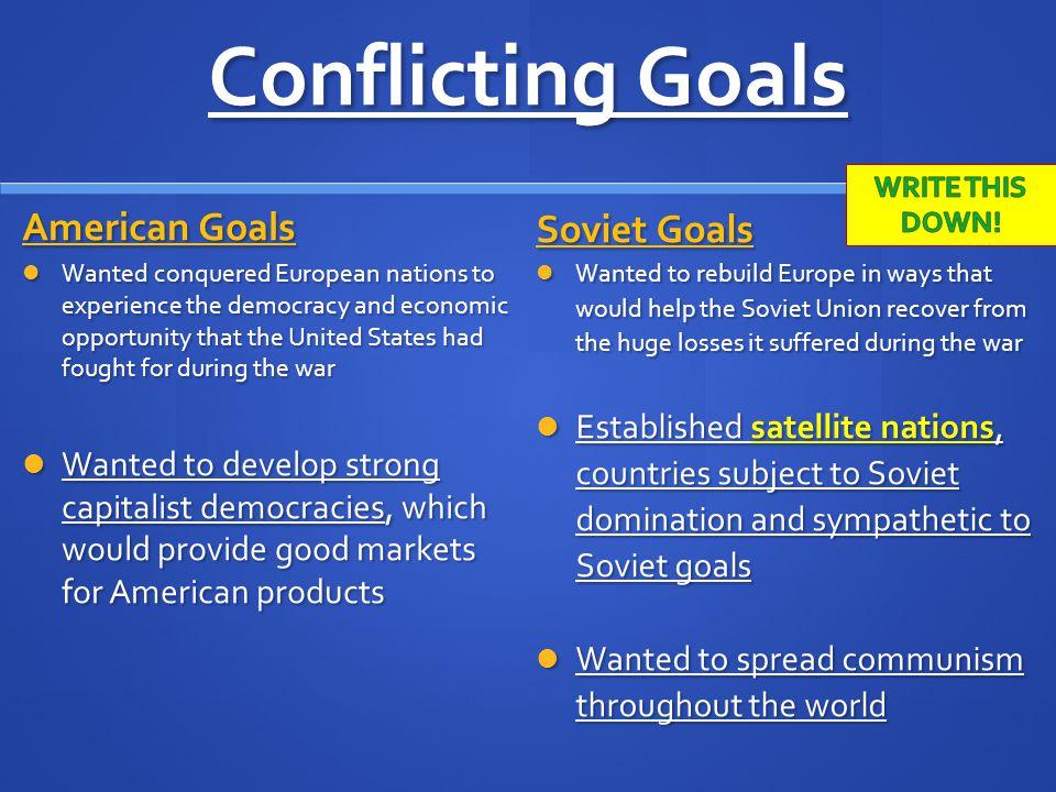Conflicting Goals American Goals Soviet Goals