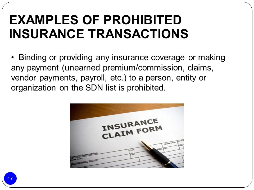 EXAMPLES OF PROHIBITED INSURANCE TRANSACTIONS