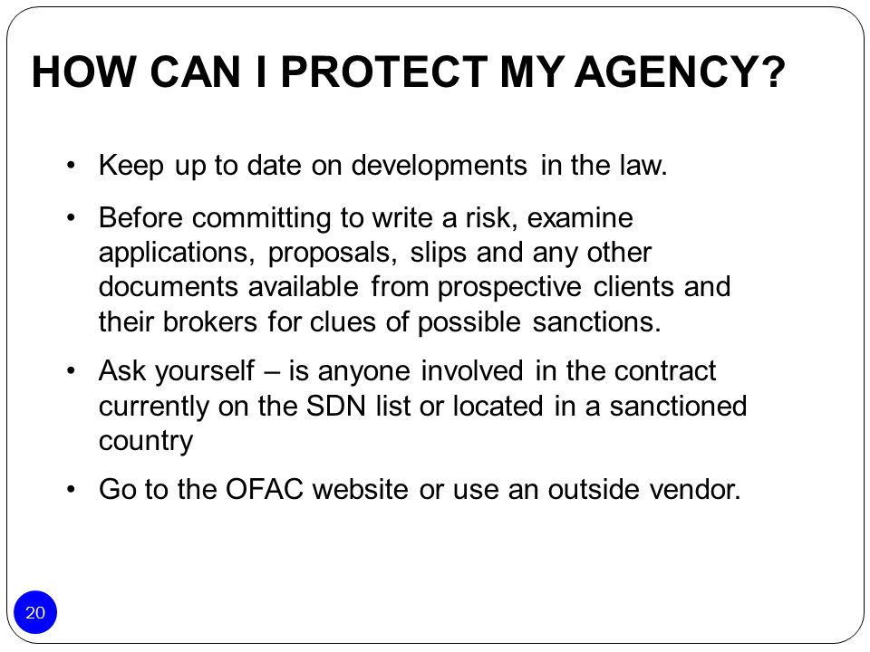 HOW CAN I PROTECT MY AGENCY