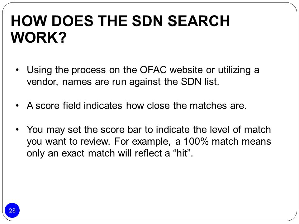 HOW DOES THE SDN SEARCH WORK