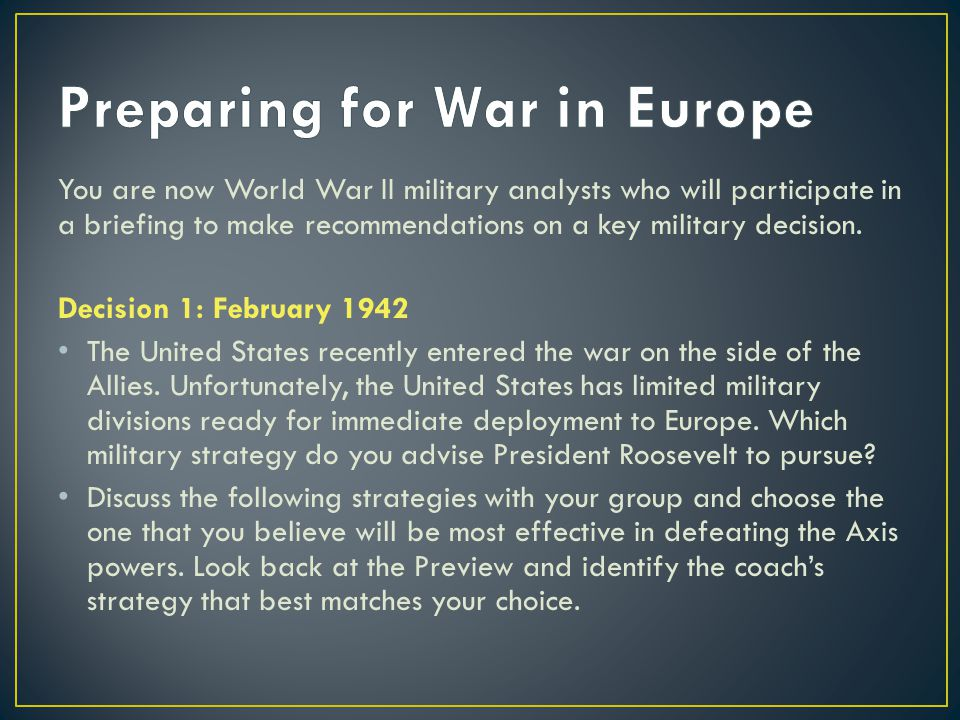 Preparing for War in Europe