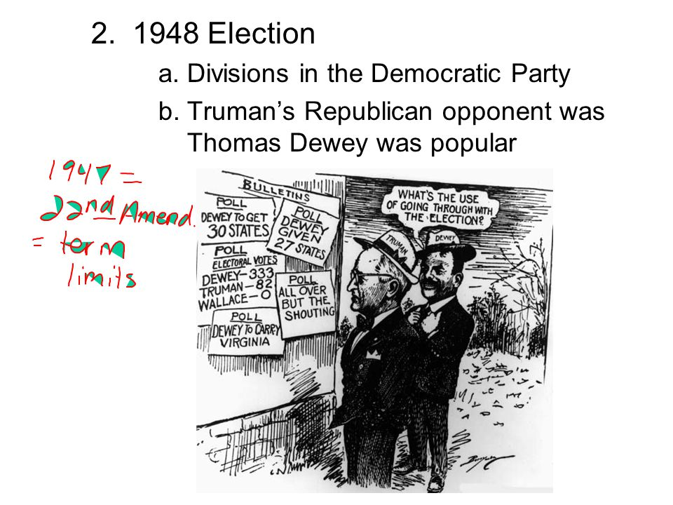 2. 1948 Election a. Divisions in the Democratic Party