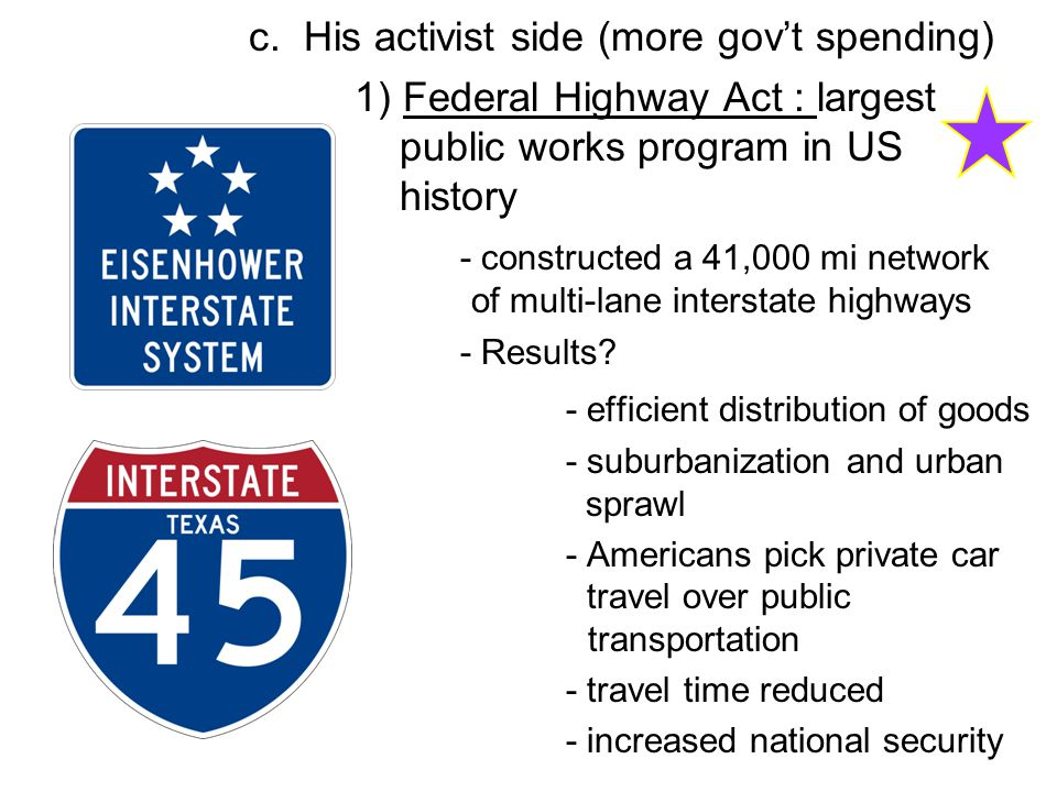 c. His activist side (more gov't spending)