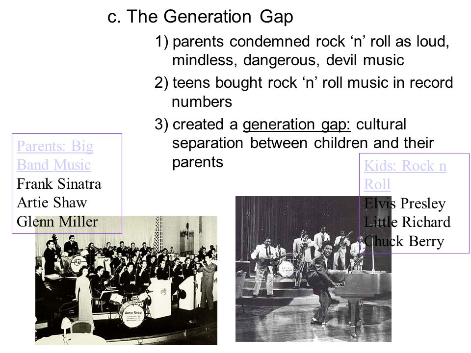 c. The Generation Gap 1) parents condemned rock 'n' roll as loud, mindless, dangerous, devil music.