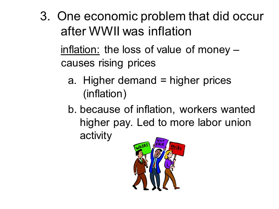 3. One economic problem that did occur after WWII was inflation