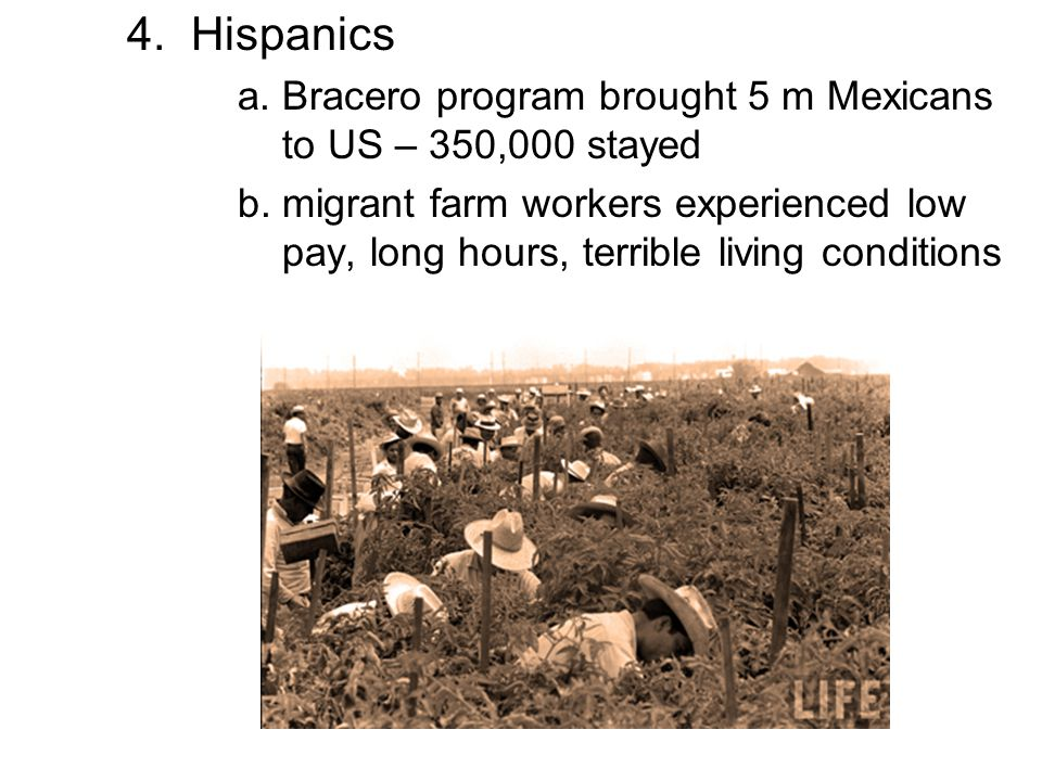 4. Hispanics a. Bracero program brought 5 m Mexicans to US – 350,000 stayed.