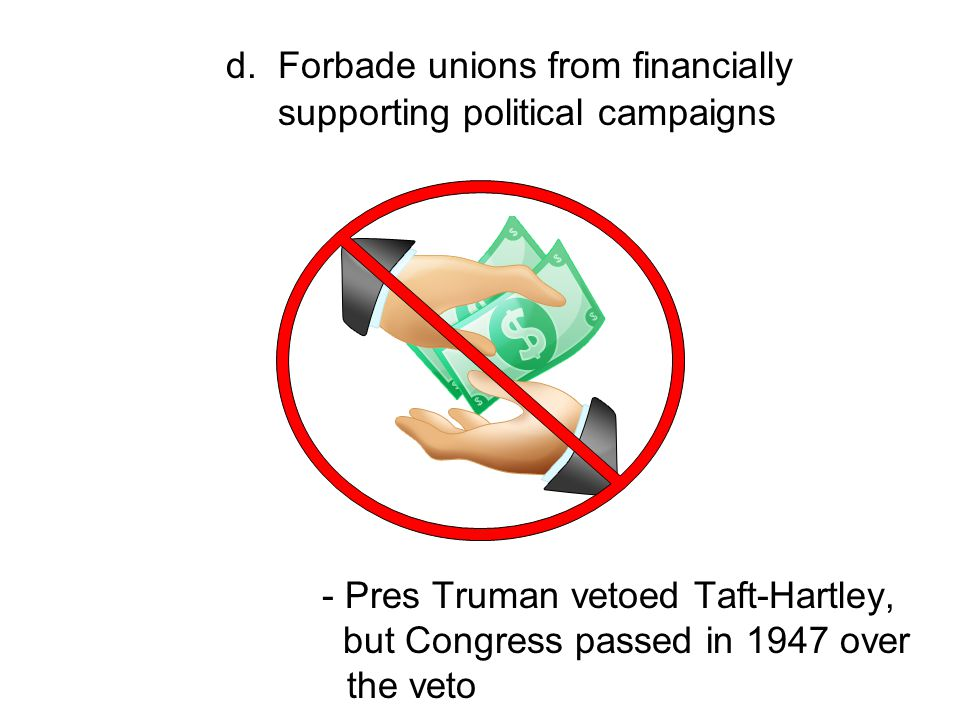 d. Forbade unions from financially supporting political campaigns