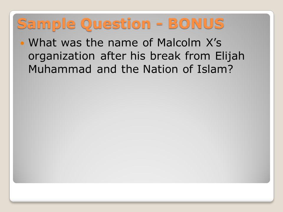 Sample Question - BONUS