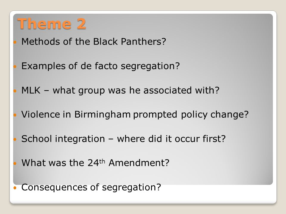 Theme 2 Methods of the Black Panthers