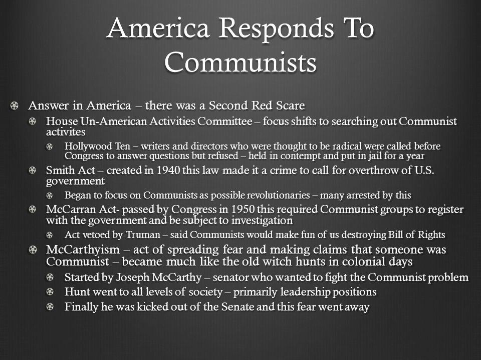 America Responds To Communists