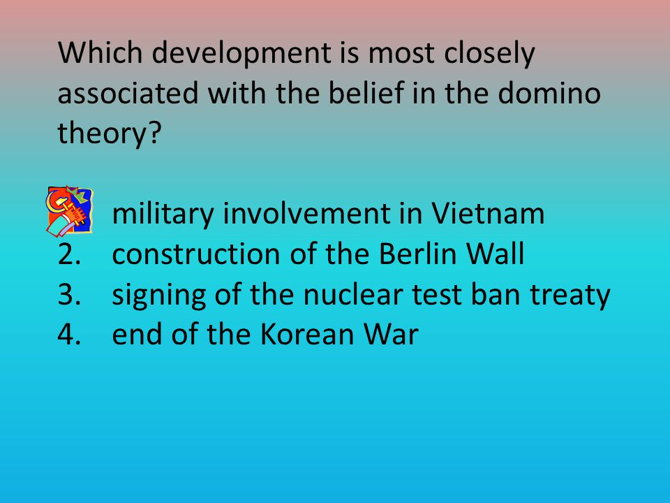 Which development is most closely associated with the belief in the domino theory