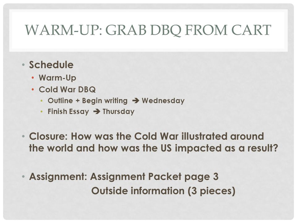 cold war ppt warm up grab dbq from cart