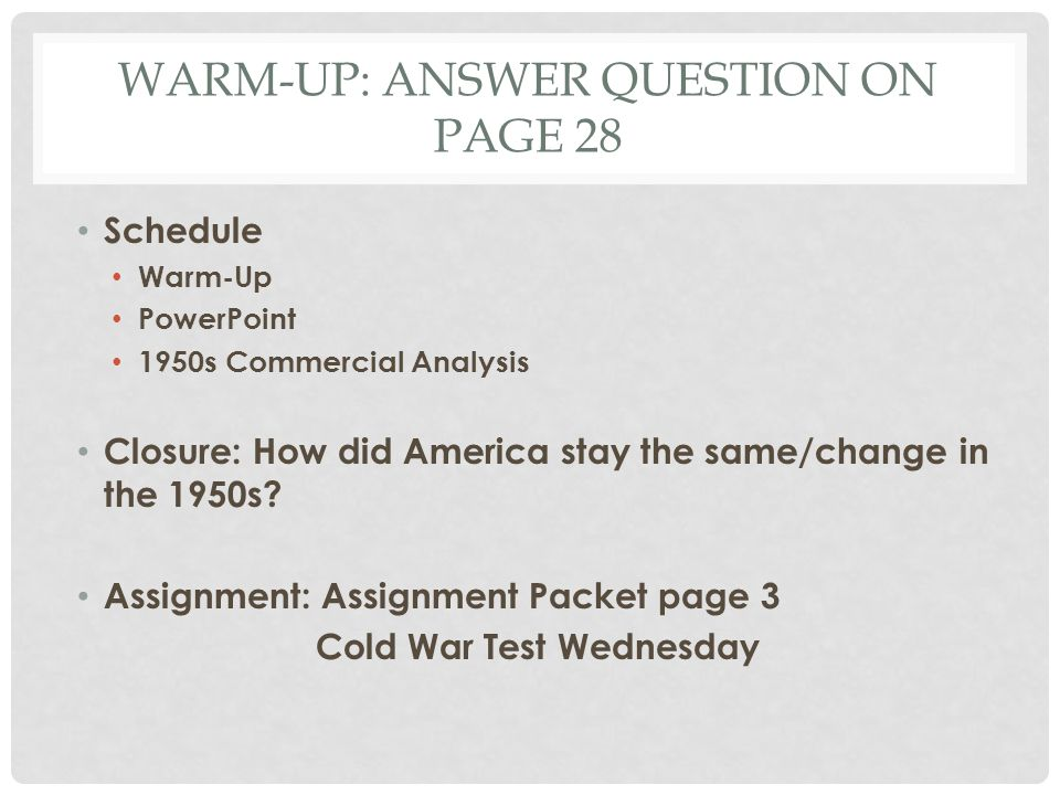 Warm-Up: answer question on page 28