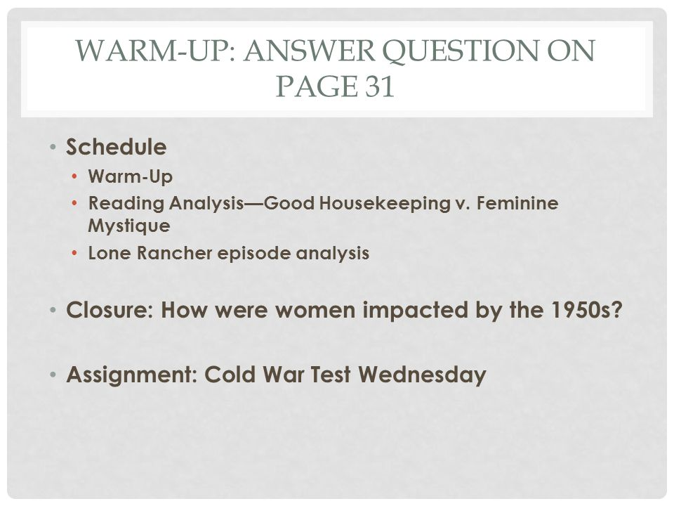Warm-Up: answer question on page 31