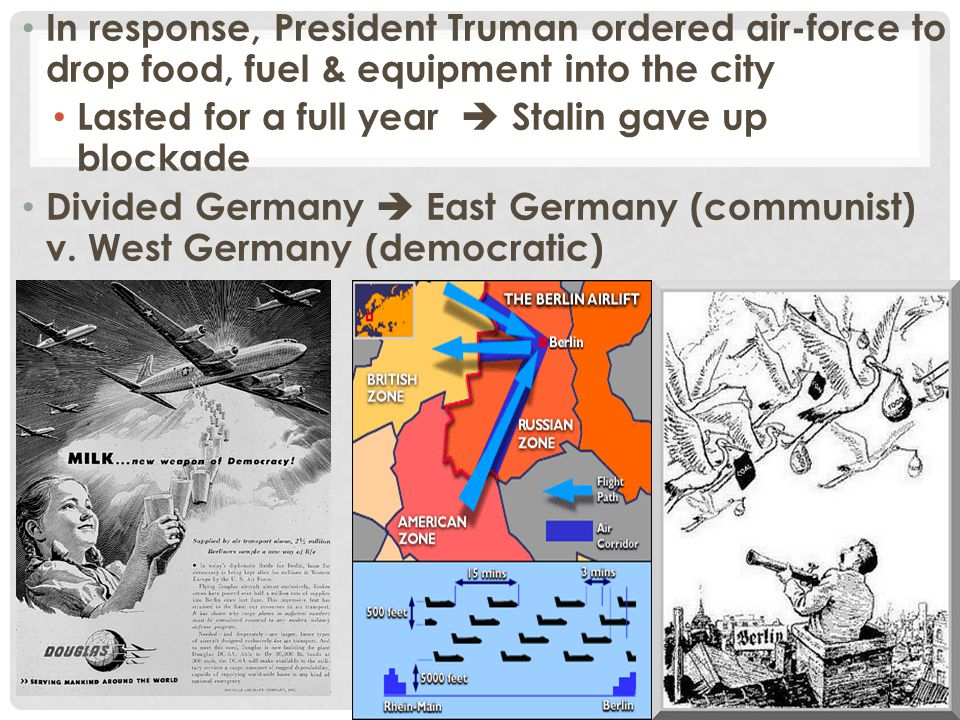 In response, President Truman ordered air-force to drop food, fuel & equipment into the city