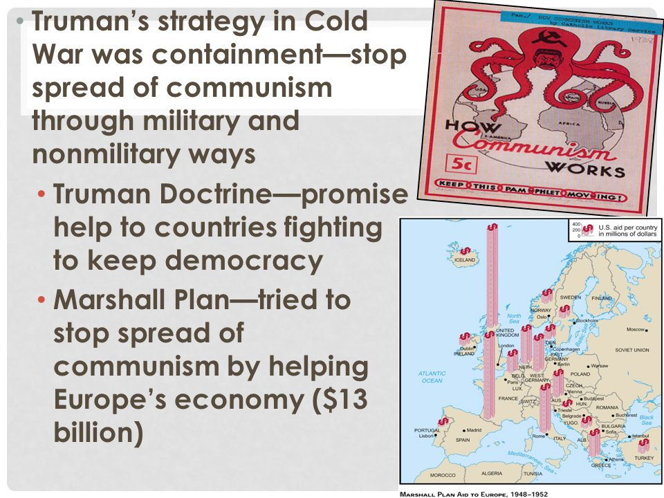 Truman's strategy in Cold War was containment—stop spread of communism through military and nonmilitary ways
