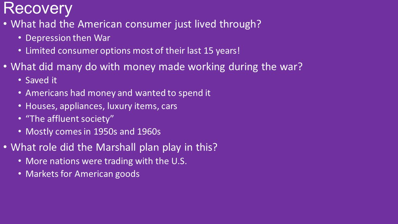 Recovery What had the American consumer just lived through