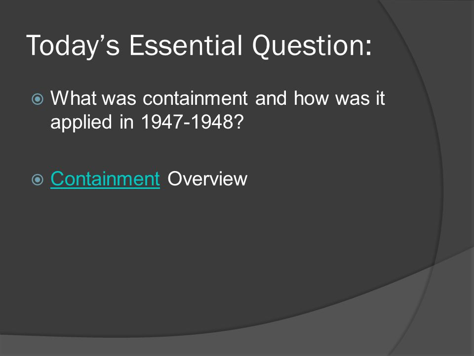 Today's Essential Question: