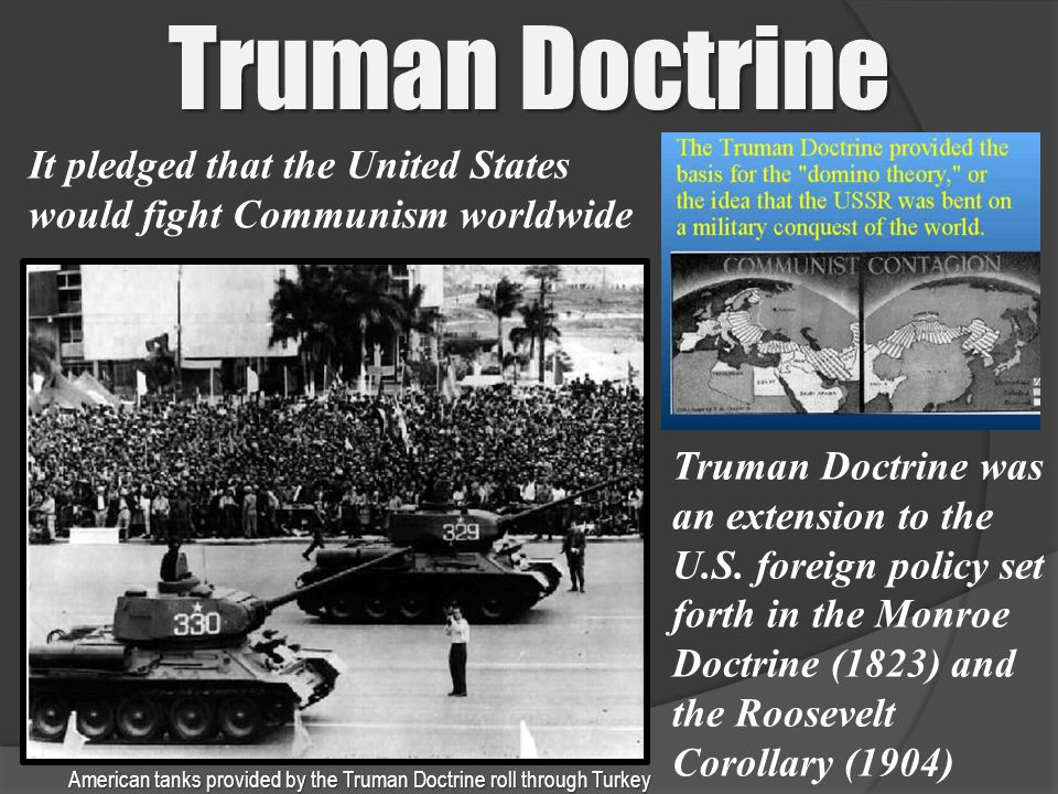 American tanks provided by the Truman Doctrine roll through Turkey