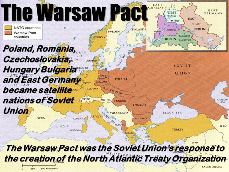 The Warsaw Pact Poland, Romania, Czechoslovakia, Hungary Bulgaria and East Germany became satellite nations of Soviet Union.