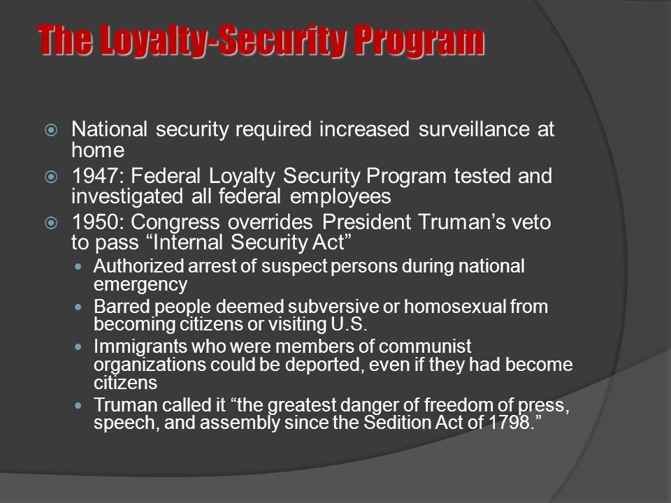 The Loyalty-Security Program